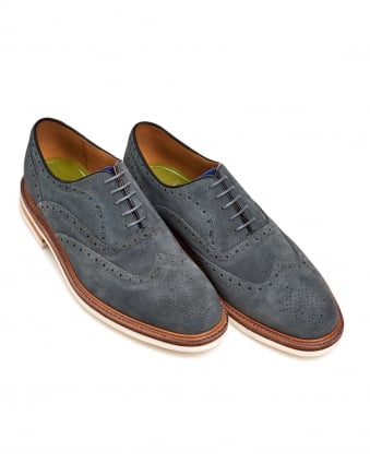 Mens Bideford Suede Brogue, Lightweight Grey Blue Shoes