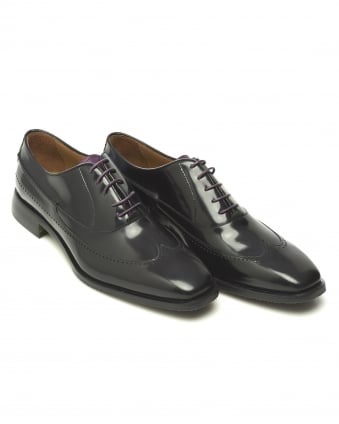 Mens Camogli Wing Tip High Shine Oxford Black Shoe
