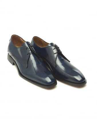 Mens Deliceto Derby Antique Blue Leather Shoes