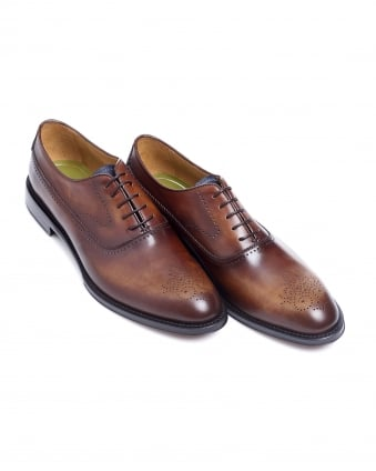 Mens Oristano Antique Brown Leather Brogue Shoes