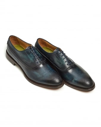 Mens Oristano Shoe, Handburnished Midnight Navy Blue Shoe