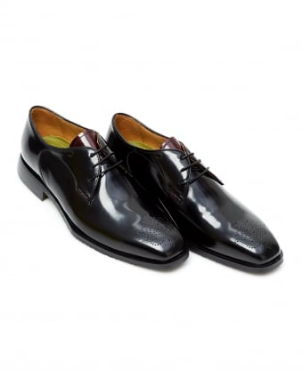 Mens Pontedera High Shine Derby Punch Toe Black Leather Shoes