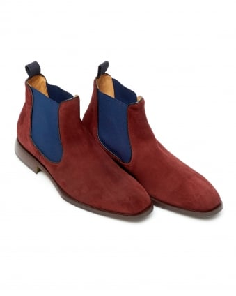 Mens Poppiano Suede Leather Burgundy Red Chelsea Boots
