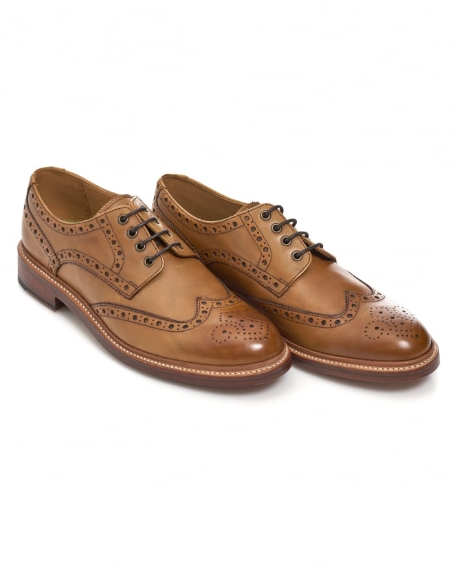Oliver Sweeney Mens Saunders Brogue, White Stitched Sole Tan Shoes
