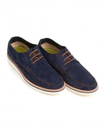Mens Stonehaven Moccasins, Hand Stitched Navy Blue Shoes