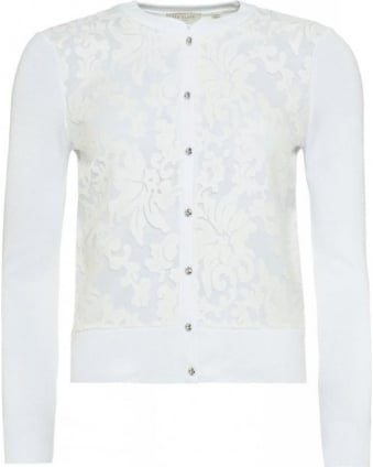 'Onivia' Long Sleeve Button Floral Lace Cardigan
