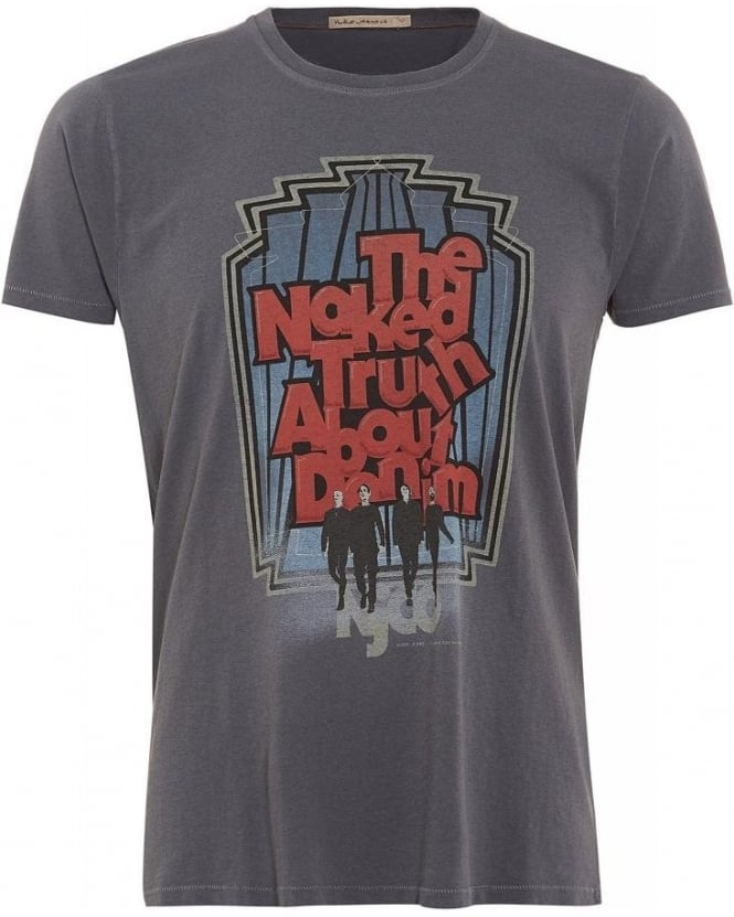 Nudie Jeans Organic Cotton Tee, Grey Washed Walk Antracite Graphic Logo T-Shirt