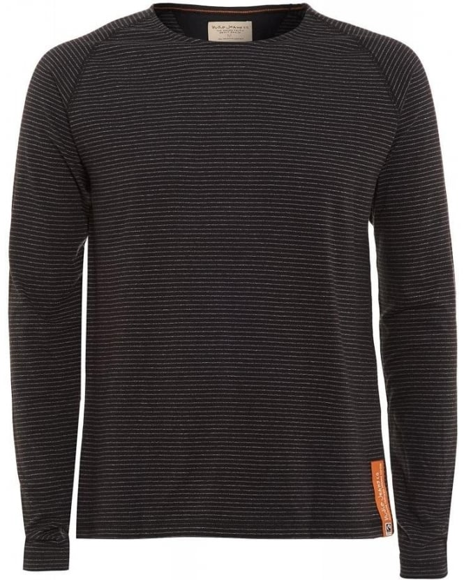 Nudie Jeans Organic Cotton Tee, Long Sleeve Striped Black and Grey T-Shirt