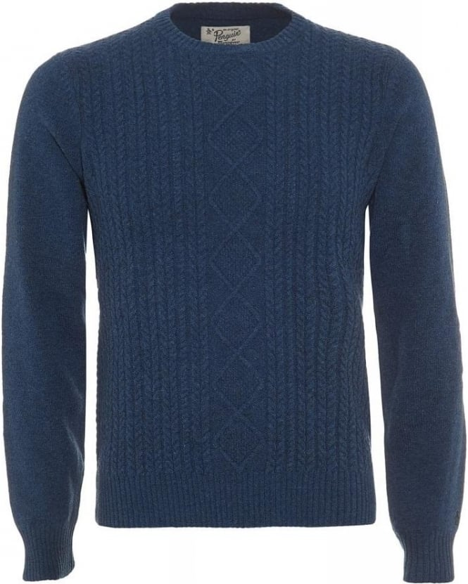 Original Penguin Aran Denim Blue Cable Knit Jumper