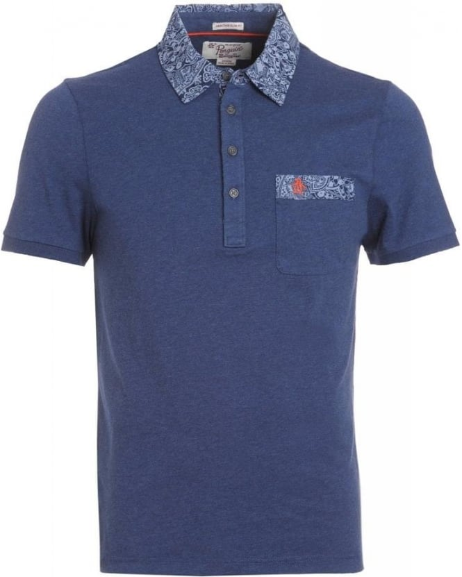 Original Penguin Dark Sapphire Paisley Trim 'Dunity' Polo Shirt