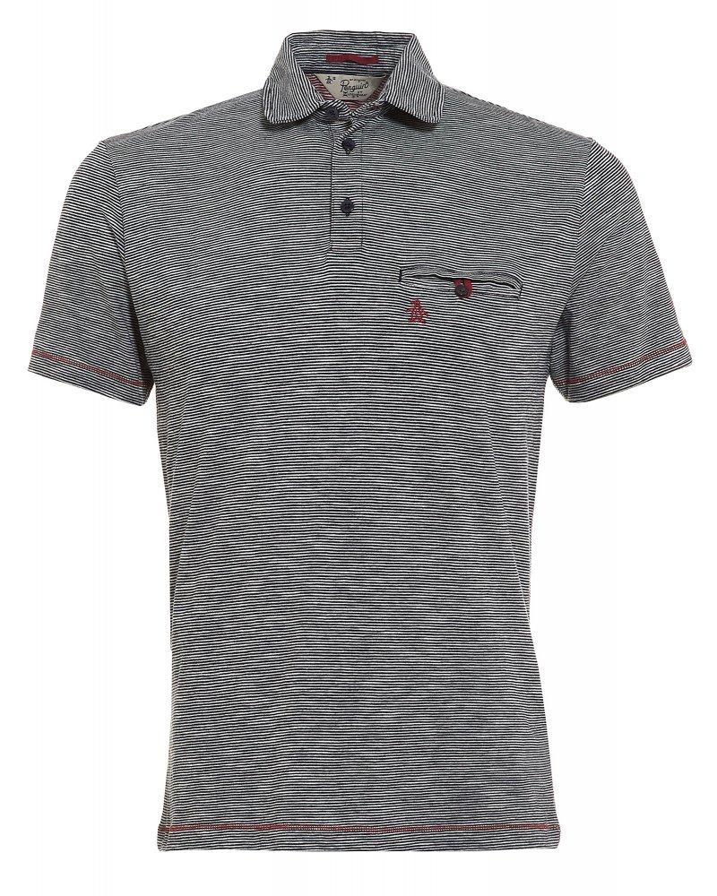 Original penguin landy polo shirt navy stripe red stitch polo for Original stitch shirt review