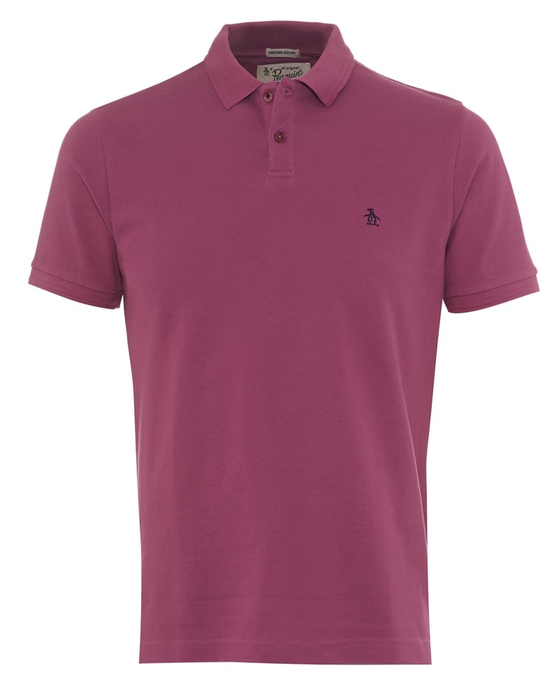 Original Penguin Mens Polo Shirt Winston Small Logo Grape Pink Polo