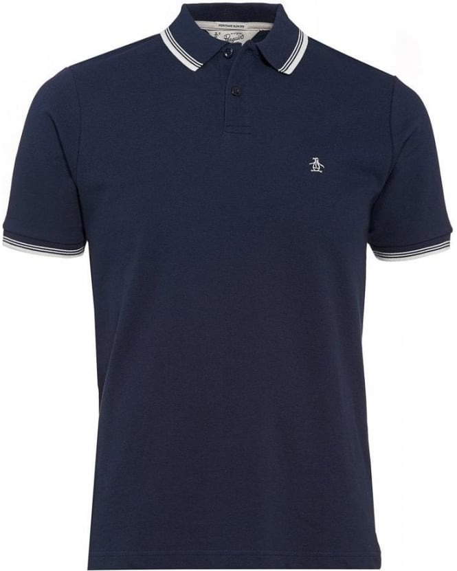 Original Penguin Polo Shirt, 'Duo' Navy Blue Slim Fit White Tipped Polo