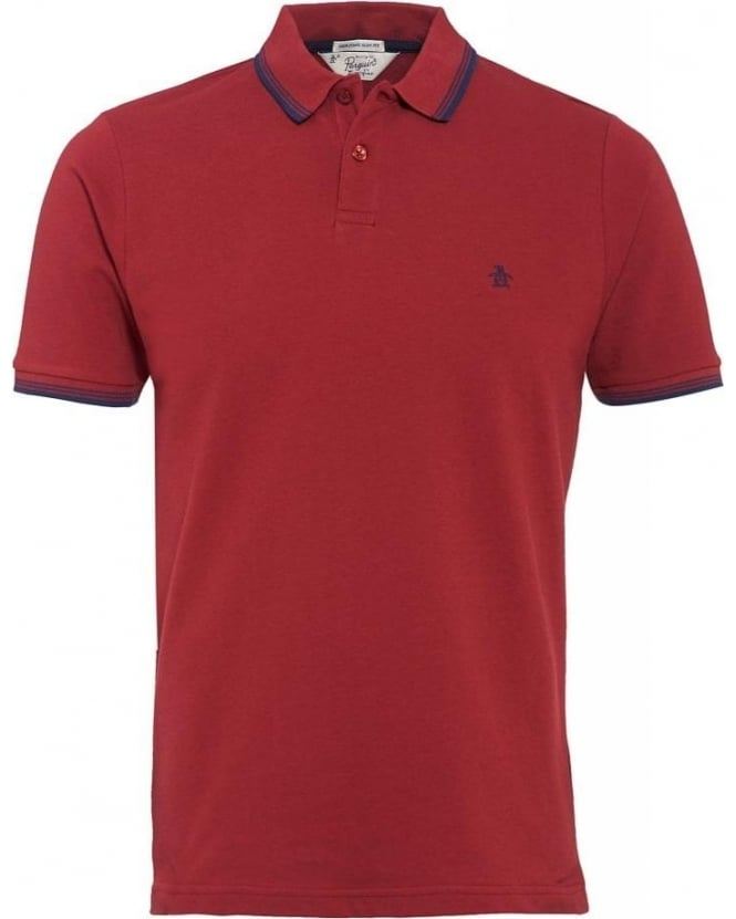 Original Penguin Polo Shirt, 'Duo' Red Slim Fit Blue Tipped Polo