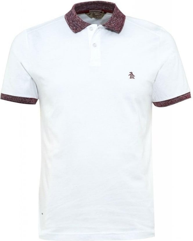 Original Penguin Polo Shirt, White Slim Fit Polo With Fleck Collar