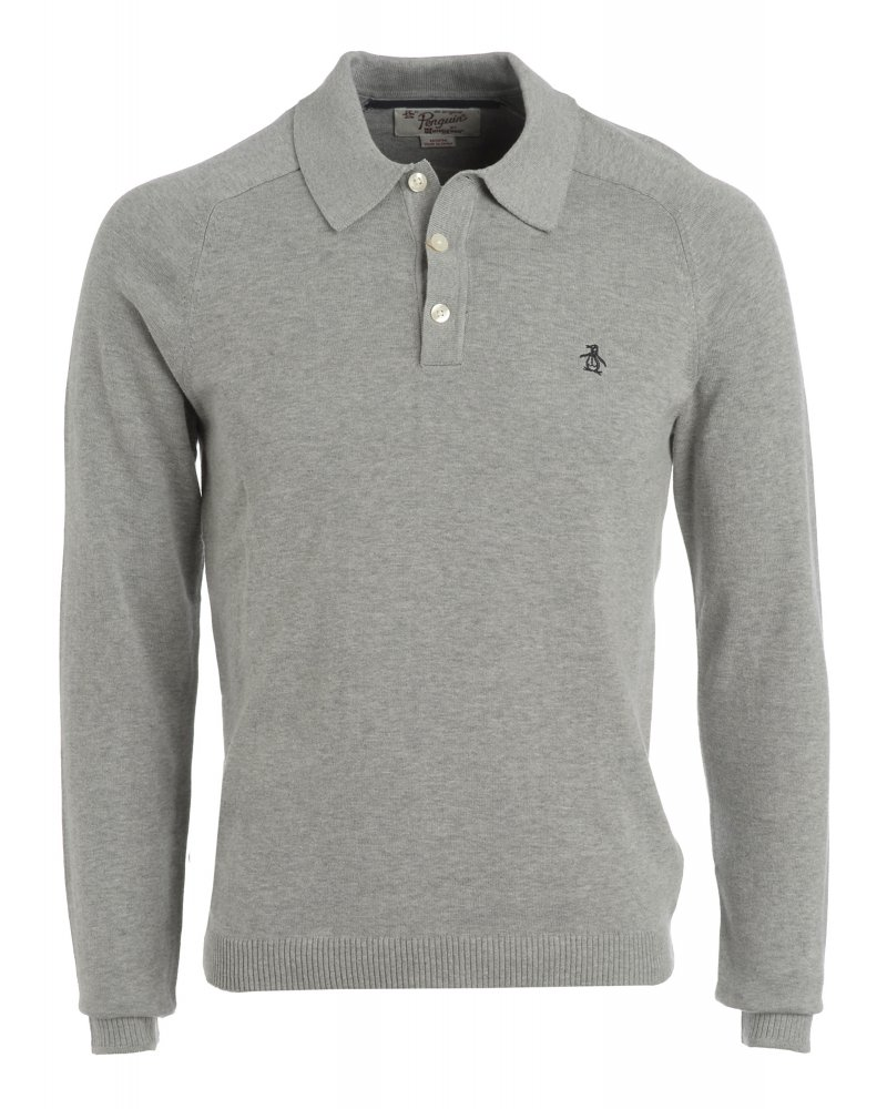 Original penguin rain heather grey long sleeve slim fit for Long sleeve fitted polo shirts