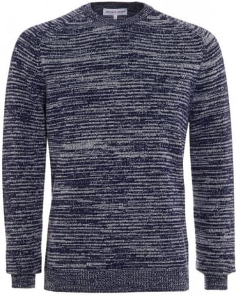 Marvin Navy Mouliné Stitch Lambswool Knit