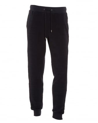 Mens Beagi Black Towelling Cotton Jogging Bottoms