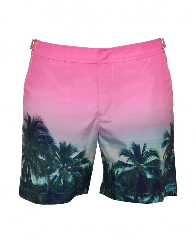 Orlebar Brown Mens Bulldog Palms Aplenty Swim Shorts, Pink Swimming Trunks