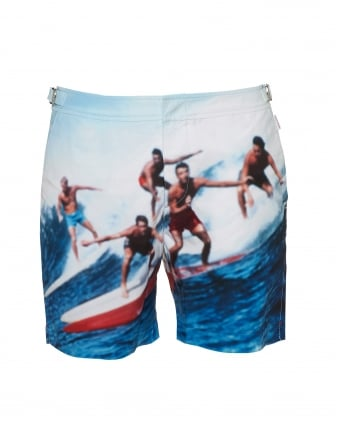 Mens Bulldog Swell Guys Swim Shorts, Navy White Swimming Trunks