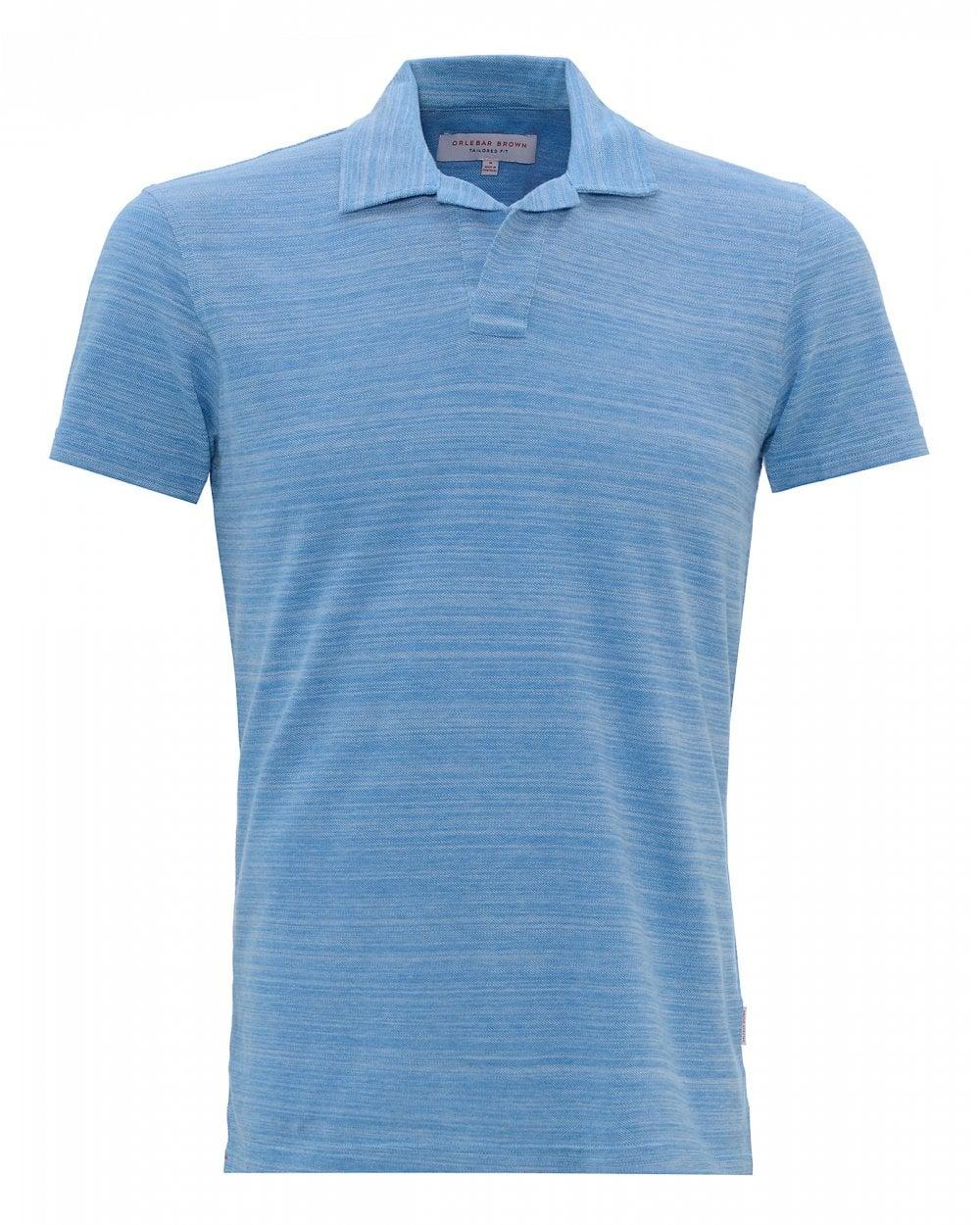 df975e03 Orlebar Brown Mens Felix Resort Blue Cloud Polo Shirt
