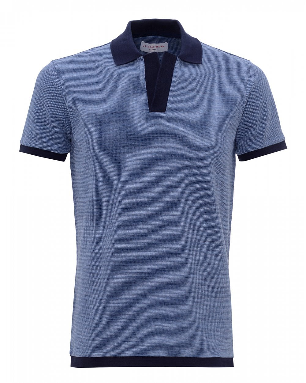 d774e2b0 Orlebar Brown Mens Felix Pewter Navy Pique Resort Polo Shirt