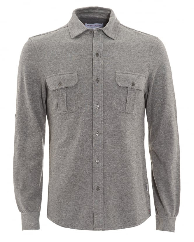 Orlebar Brown Mens Linsel Tailored Fit Jersey Charcoal Grey Shirt