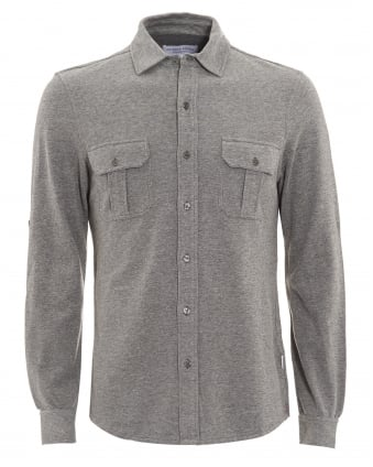 Mens Linsel Tailored Fit Jersey Charcoal Grey Shirt