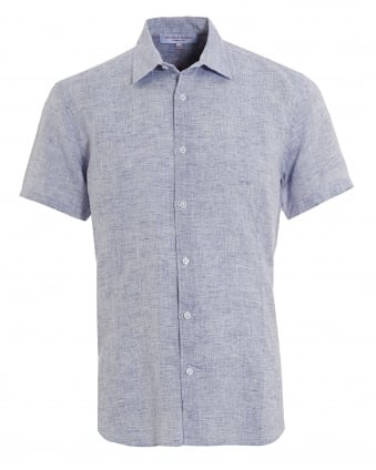 Mens Loose Linen Meden Short Sleeve Navy Blue Shirt