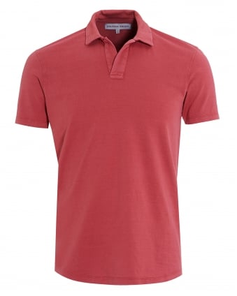 Mens Massey Polo, Riviera Collar Pomodore Red Polo Shirt