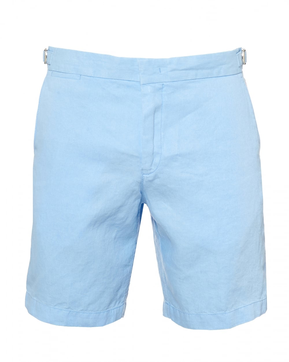 Orlebar Brown Mens Norwich Tailored Fit Linen Blue Shorts