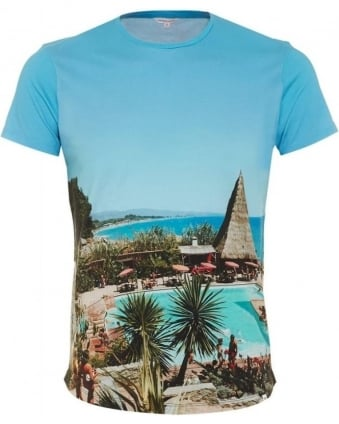 Mens OB T T-Shirt, Photographic Palm Tree Print Tee