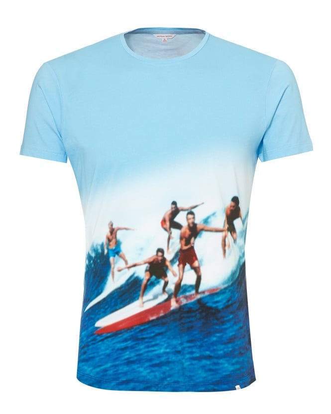 Orlebar Brown Mens OB-T T-Shirt, Swell Guys Sky Blue Tee
