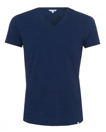 Mens OB-V T-Shirt, V-Neck Denim Blue Tee