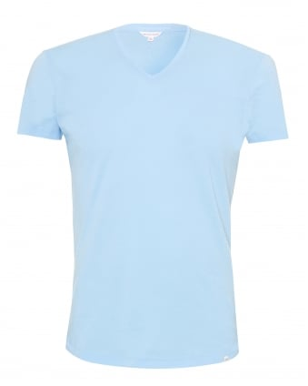 Mens OB-V T-Shirt, V-Neck Powder Blue Tee