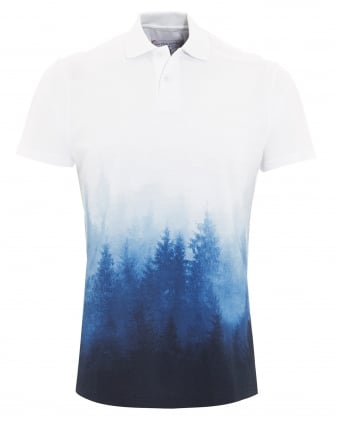 Mens Polo, Finian Forest Printed White Blue Polo Shirt