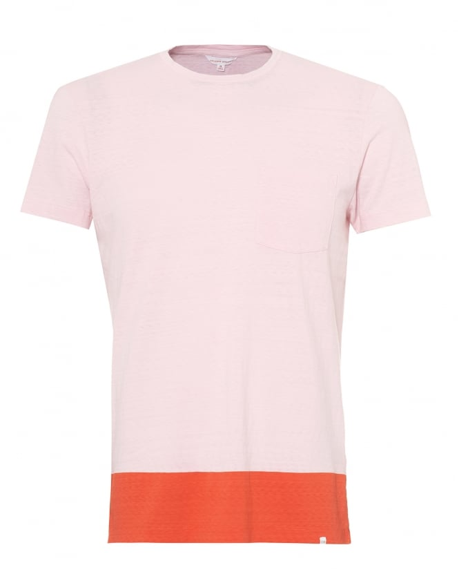 Orlebar Brown Mens Sammy T-Shirt, Block Hem Pink Tee