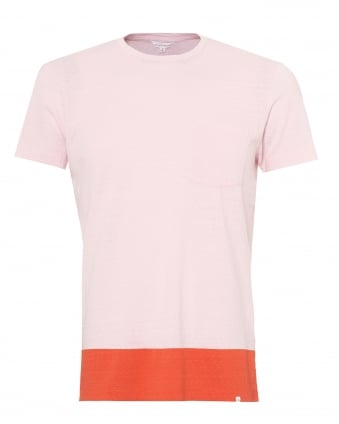 Mens Sammy T-Shirt, Block Hem Pink Tee