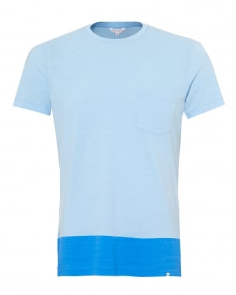Mens Sammy T-Shirt, Block Hem Sky Blue Tee