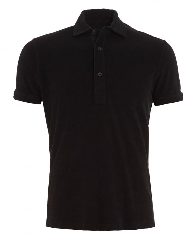 Orlebar Brown Mens Sebastian Polo Shirt, Black Coal Towelling Polo