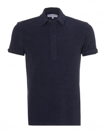 Mens Sebastian Towelling Polo Shirt, Navy Blue Polo