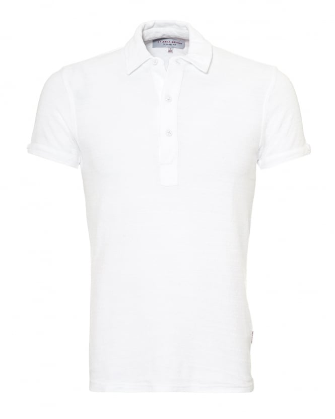 Orlebar Brown Mens Sebastian Towelling Polo Shirt, White Polo