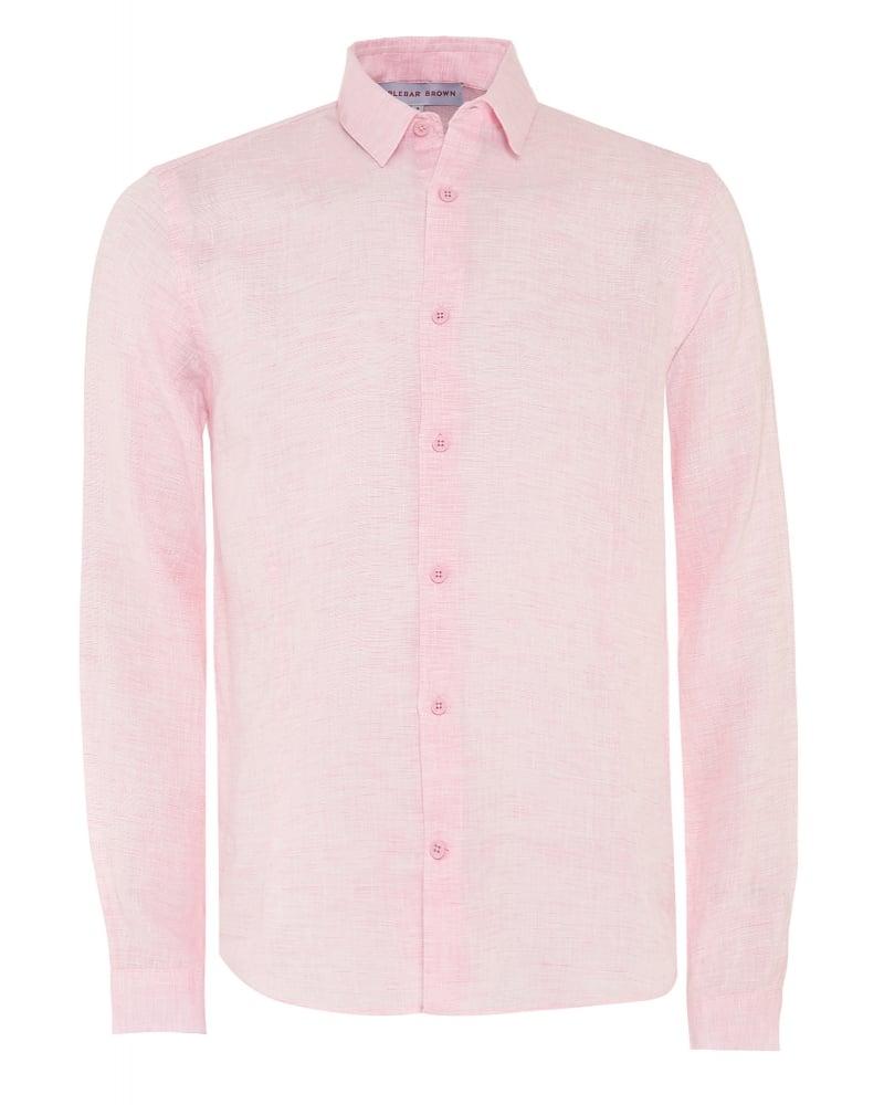 e7fcab30e6c Orlebar Brown Mens Shirt Morton Pink Aloha Long Sleeve Linen Shirt