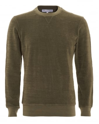 Mens Sweatshirt, Pierce Terry Military Green Jumper