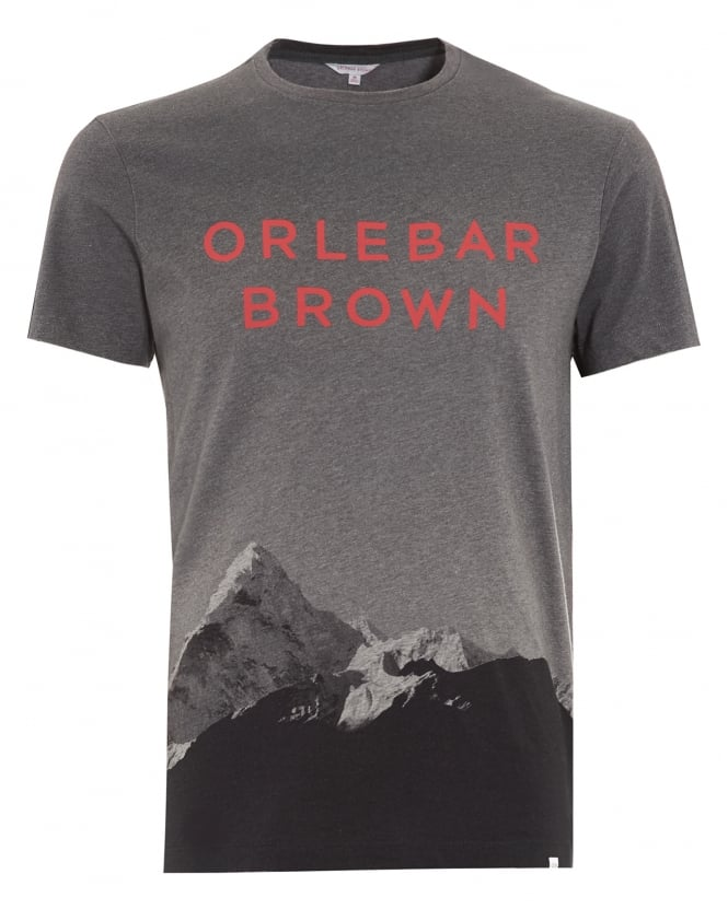 Orlebar Brown Mens T-Shirt, Sammy Branded Mountain Graphic Grey Tee