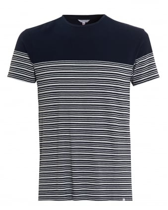 Mens T-Shirt, Sammy Bretton Stripe Navy White Tee