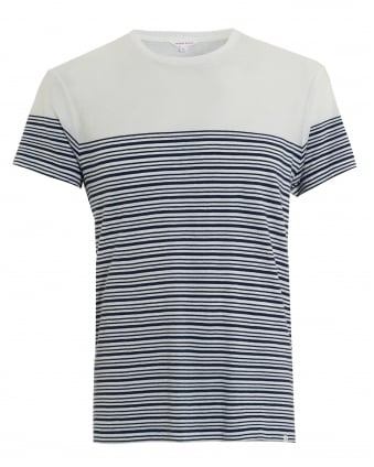 Mens T-Shirt, Sammy Bretton Stripe White Navy Tee