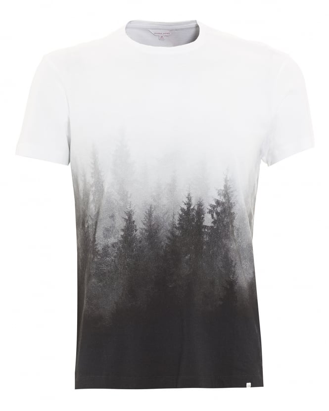 Orlebar Brown Mens T-Shirt, Sammy Mountain Forest Graphic Grey Tee