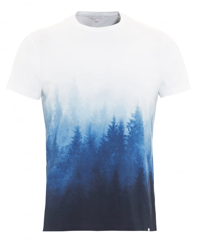Orlebar Brown Mens T-Shirt, Sammy Mountain Forest Graphic Navy Blue Tee
