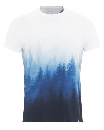 Mens T-Shirt, Sammy Mountain Forest Graphic Navy Blue Tee